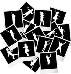 A pile of photo frames with children silhouettes vector