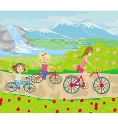 Mother and daughters biking in the park vector