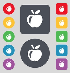 Apple icon sign a set of 12 colored buttons flat vector