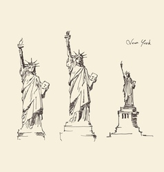 Statue of liberty hand drawn vintage engraved vector