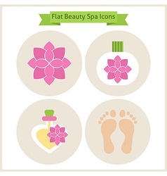 Flat flower beauty and spa icons set vector