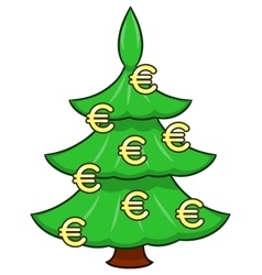 Christmas tree with euro signs vector