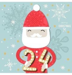 Cute colorful christmas advent calendar vector
