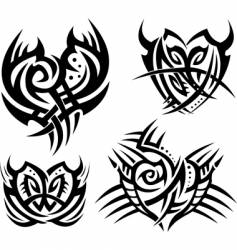 Tribal hearts and shields vector