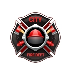 Fire department emblem realistic image vector