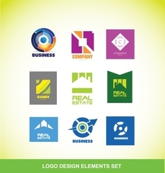 Logo elements company icon set vector