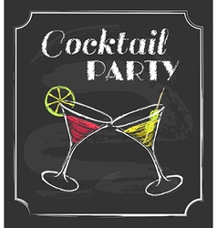 Vintage cocktail party poster chalkboard style vector