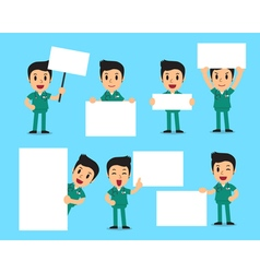 Set of male nurse with blank white banner vector