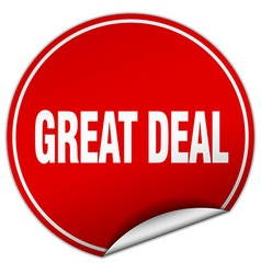 Great deal round red sticker isolated on white vector