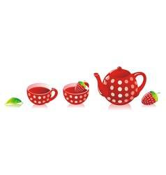 Red tea service with a strawberry vector