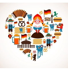 Heart shape with Germany icons vector image