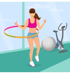 Beautiful woman exercising with hula hoop in the vector