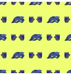 Blue Helmet and Gloves Seamless Pattern vector image vector image