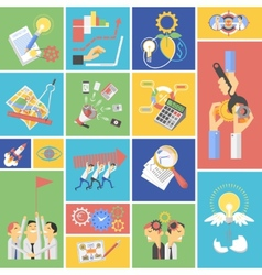 Business teamwork concept flat icons set vector