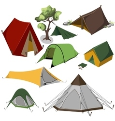 Camping tents collection vector image