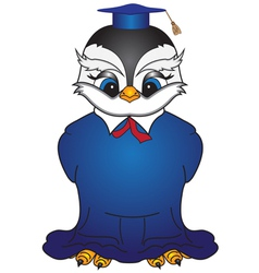 Cartoon bird in a square academic cap 2 vector