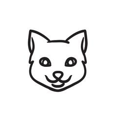 Cat head sketch icon vector