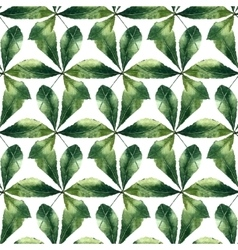 Chestnut leaf watercolor seamless pattern vector