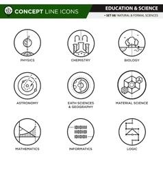 Concept line icons set 7 natural formal sciences vector