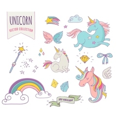 Cute magic collection with unicon rainbow fairy vector