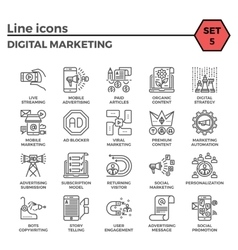 Digital marketing icon set vector