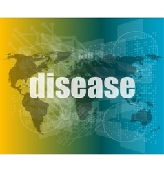 Disease words on digital touch screen interface vector