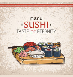 Doodle sushi and rolls on wood japanese vector