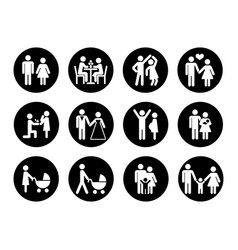 family icons set in black and white vector image vector image