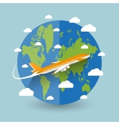 flying a plane to travel destination vector image vector image