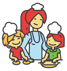 Happy woman cooking with kids mother with vector