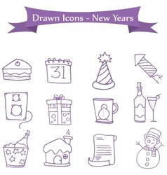 Icon of new year and merry christmas element vector