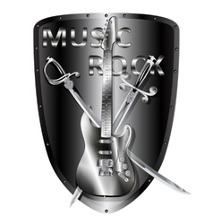 iron electric guitar with a saber and sword vector image vector image