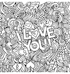 Love hand lettering and doodles elements vector image
