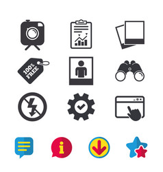 Photo camera icon no flash light sign vector