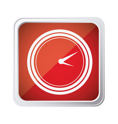 red emblem clock icon vector image