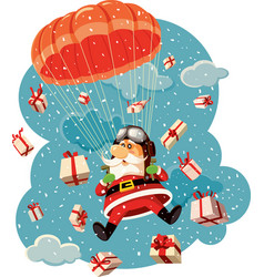 santa claus flying with parachute and gifts vector image