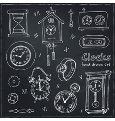 Set of doodle sketch clocks and watches vector image vector image