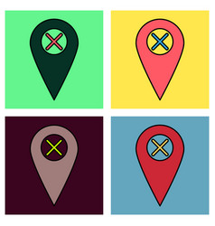 Set of navigation geolocation icon in flat design vector