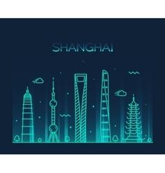 Shanghai City skyline silhouette line art vector image