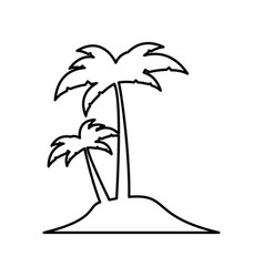 silhouette island with two palms icon vector image