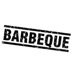 Square grunge black barbeque stamp vector