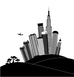 Urban landscape in black and white vector image