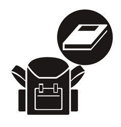White background with monochrome school bag with vector