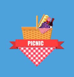 wicker picnic basket vector image vector image