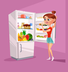 woman character near refrigerator thinking vector image vector image
