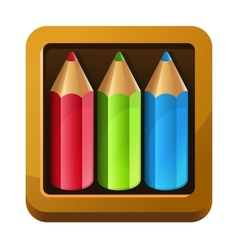 Wooden box with color pencils vector image vector image