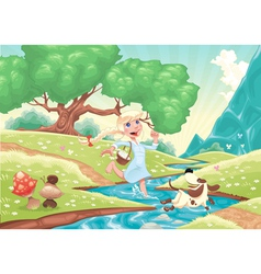 Young girl is running with dog in the nature vector