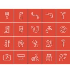 Construction sketch icon set vector