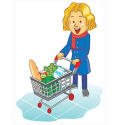 Women using trolley at supermarket vector