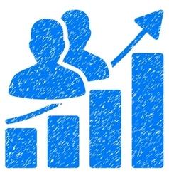 Audience growth bar chart grainy texture icon vector